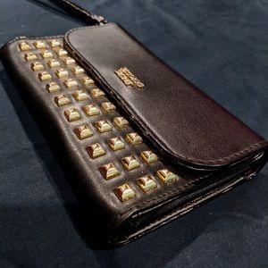 Black Victoria's Secret gold studded wallet clutch